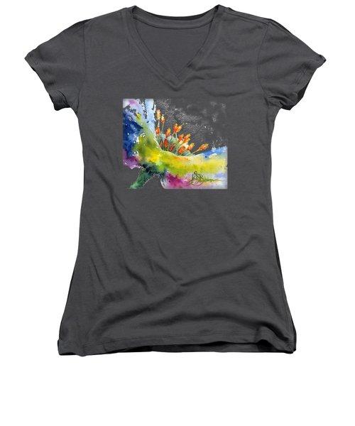 Flower Shirt Women's V-Neck (Athletic Fit)