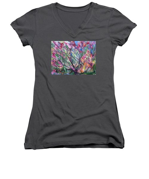 Women's V-Neck T-Shirt (Junior Cut) featuring the painting Flowering by Betty Pieper