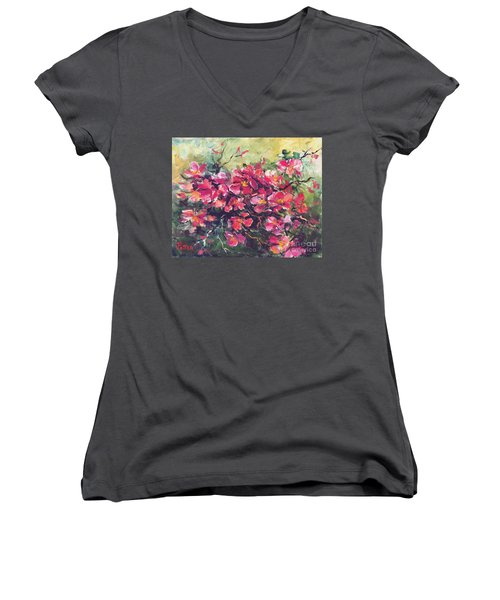 Flowering Quince Women's V-Neck (Athletic Fit)