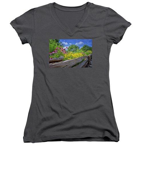 Flowers Along A Wooden Fence Women's V-Neck T-Shirt (Junior Cut) by Steve Hurt