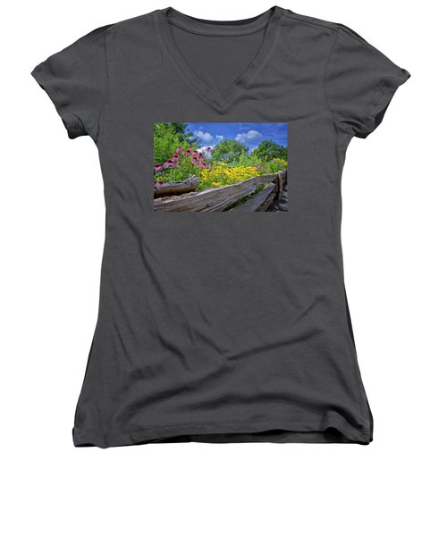 Flowers Along A Wooden Fence Women's V-Neck T-Shirt