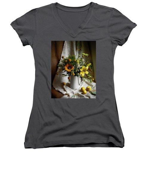Flowers And Lemons Women's V-Neck
