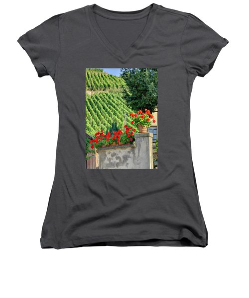 Flowers And Vines Women's V-Neck T-Shirt (Junior Cut) by Alan Toepfer