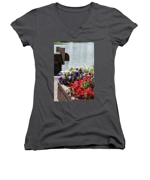 Flowers And Water Women's V-Neck