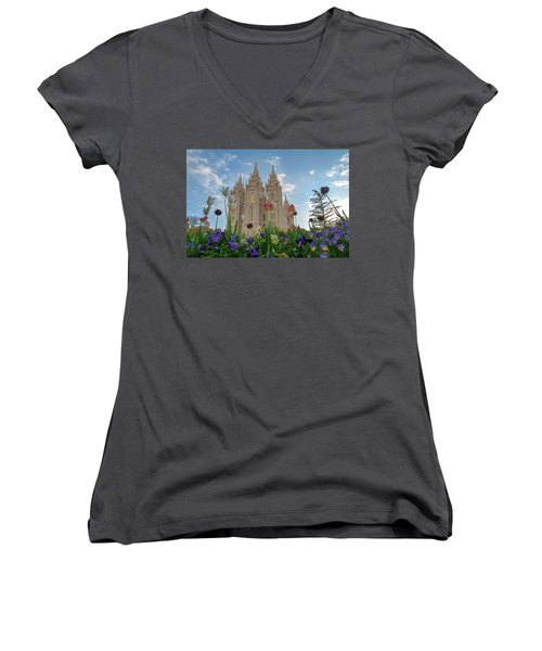 Flowers At Temple Square Women's V-Neck