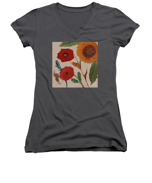 Women's V-Neck T-Shirt featuring the painting Flowers Blowing In The Wind by Robin Maria Pedrero