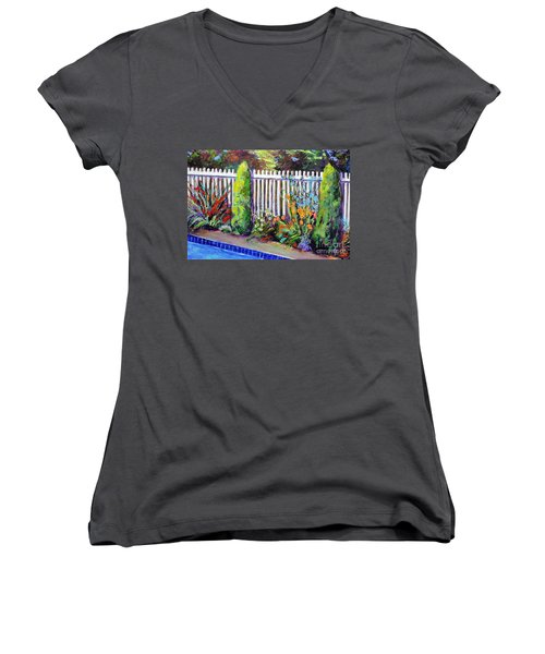 Flowers By The Pool Women's V-Neck (Athletic Fit)