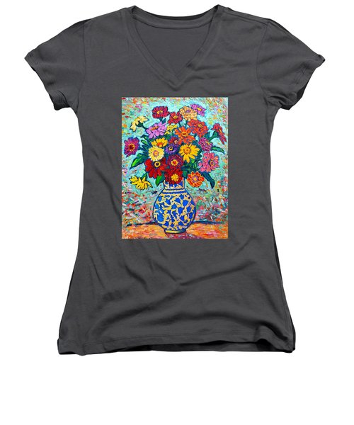 Flowers - Colorful Zinnias Bouquet Women's V-Neck
