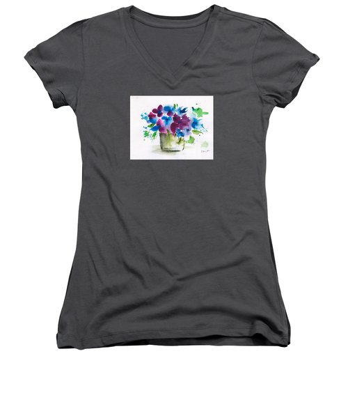 Flowers In A Glass Vase Abstract Women's V-Neck T-Shirt (Junior Cut) by Frank Bright