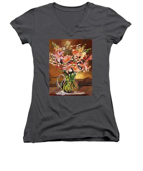 Flowers In Glass Women's V-Neck