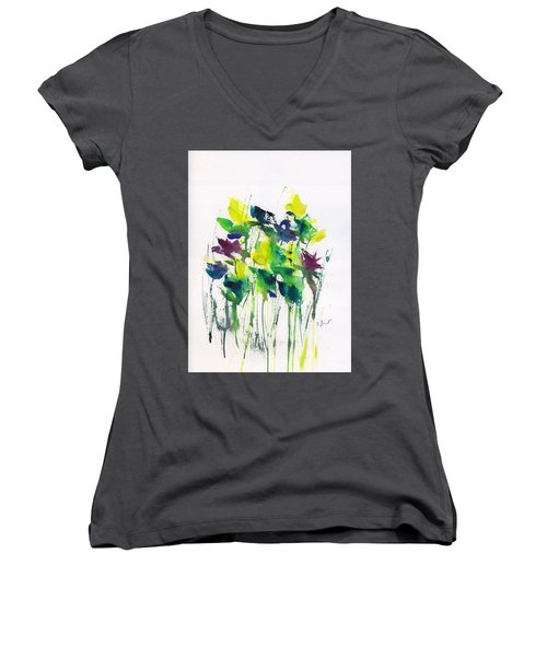Flowers In Grass Abstract Women's V-Neck T-Shirt