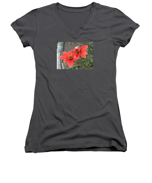 Flowers In Love Women's V-Neck (Athletic Fit)