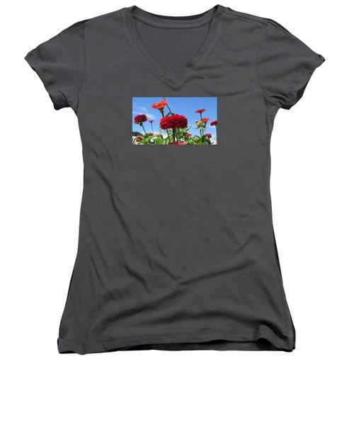 Flowers In The Blue Women's V-Neck T-Shirt (Junior Cut) by Jeanette Oberholtzer