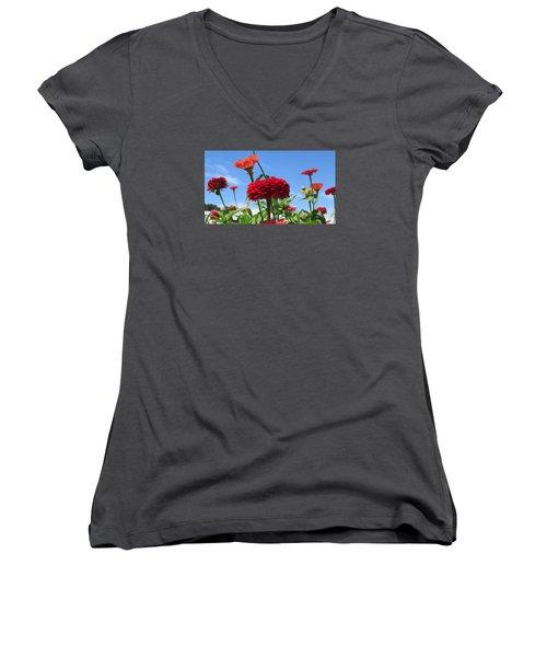 Flowers In The Blue Women's V-Neck T-Shirt