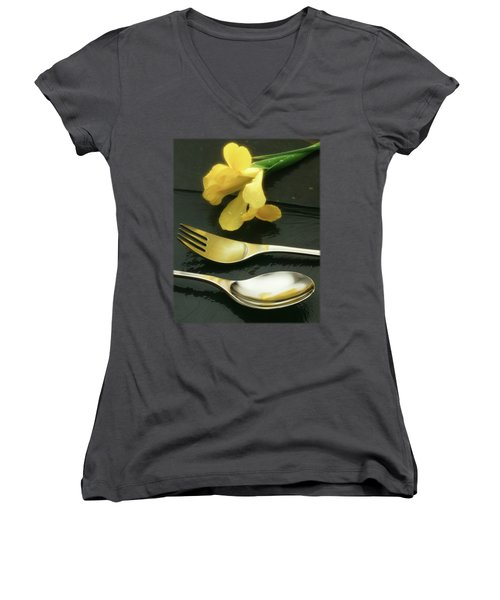 Flowers On Slate Women's V-Neck T-Shirt (Junior Cut) by Jon Delorme