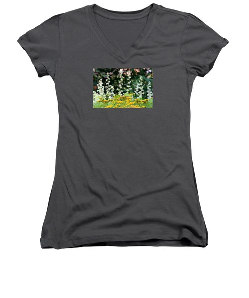 Flowers Sparkling Above The Tansies Women's V-Neck T-Shirt (Junior Cut)
