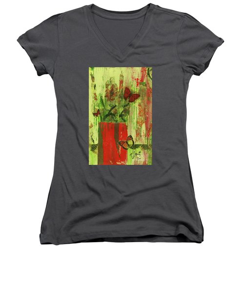 Women's V-Neck T-Shirt (Junior Cut) featuring the mixed media Flowers,butteriflies, And Vase by P J Lewis
