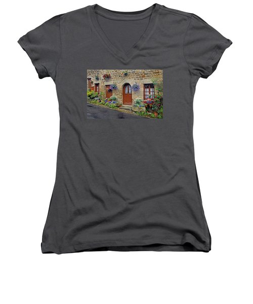 Flowery Doorways In Brittany Women's V-Neck T-Shirt (Junior Cut) by Dave Mills