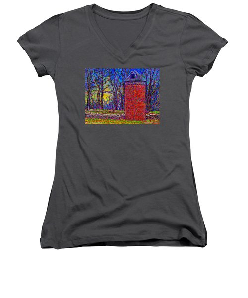 Women's V-Neck featuring the painting Floyd,virginia Tower by Hidden Mountain