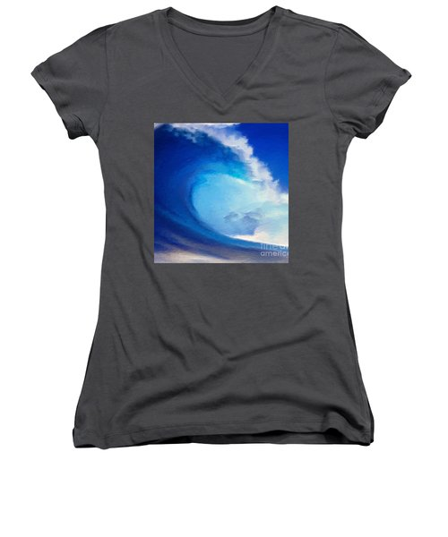 Women's V-Neck T-Shirt (Junior Cut) featuring the digital art Fluid by Anthony Fishburne