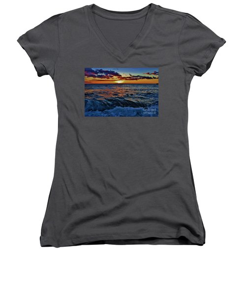 Fluid Sunset Women's V-Neck (Athletic Fit)