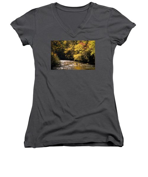 Women's V-Neck T-Shirt (Junior Cut) featuring the photograph Fly Fisherman On The Tellico - D010008 by Daniel Dempster