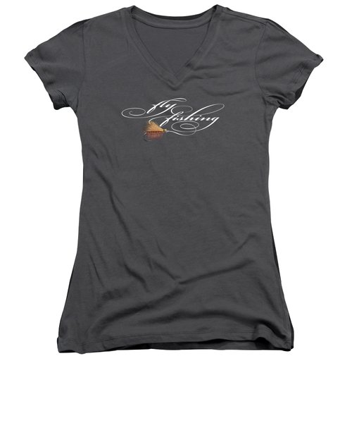 Fly Fishing Elk Hair Caddis Women's V-Neck T-Shirt (Junior Cut) by Rob Corsetti