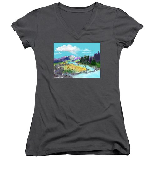 Fly Fishing With Aa Wooly Worm. Women's V-Neck (Athletic Fit)