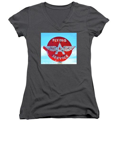 Flying A Service Sign Women's V-Neck