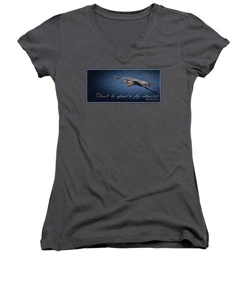 Flying Alone Women's V-Neck T-Shirt (Junior Cut) by Pamela Blizzard
