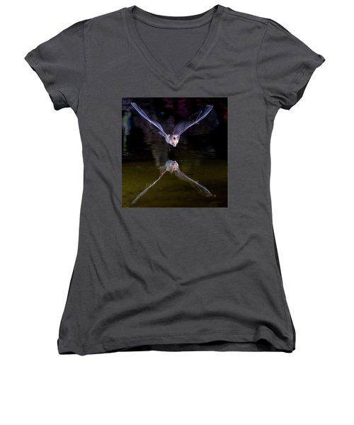 Flying Bat With Reflection Women's V-Neck