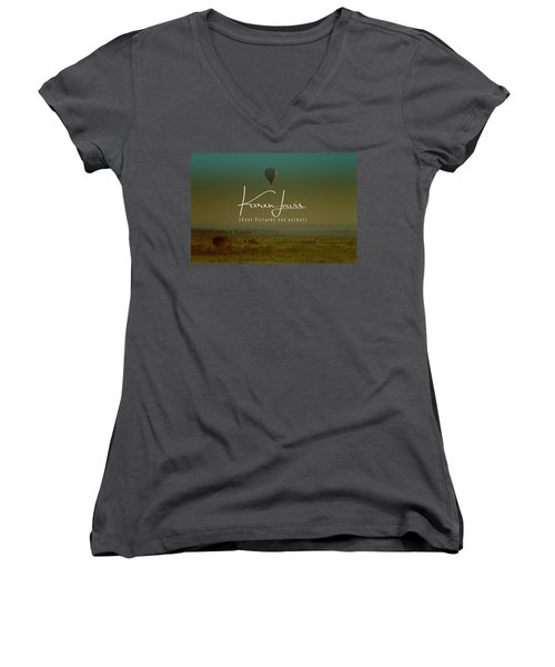 Women's V-Neck T-Shirt (Junior Cut) featuring the photograph Flying High On The Masai Mara by Karen Lewis