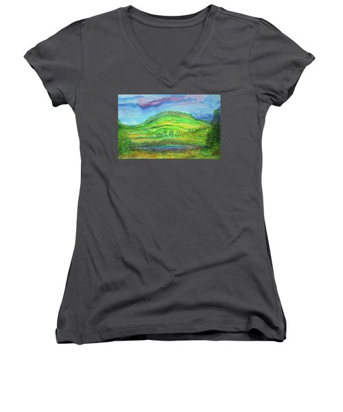 Women's V-Neck T-Shirt (Junior Cut) featuring the painting Flying Solo by Susan D Moody