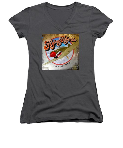 Flying Tigers Women's V-Neck (Athletic Fit)