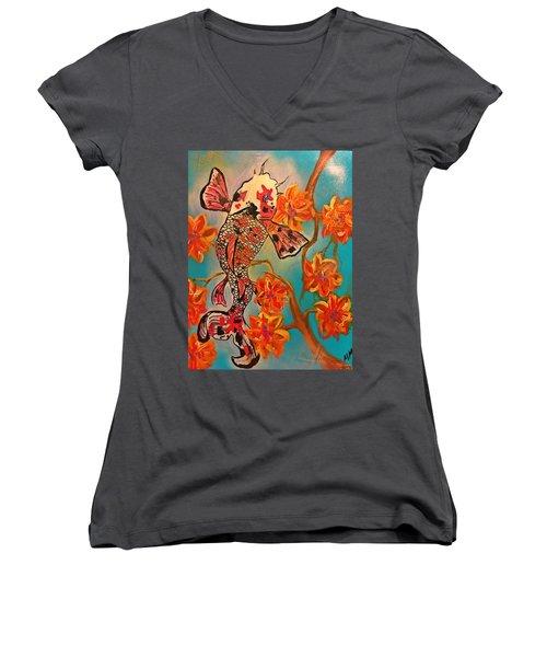 Focus Flower  Women's V-Neck T-Shirt (Junior Cut) by Miriam Moran