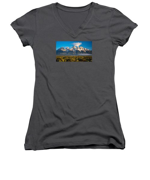 Fog At The Tetons Women's V-Neck (Athletic Fit)