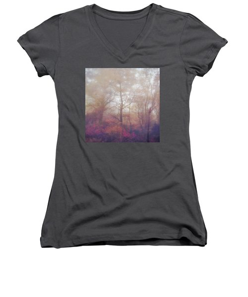 Fog In Autumn Mountain Woods Women's V-Neck (Athletic Fit)