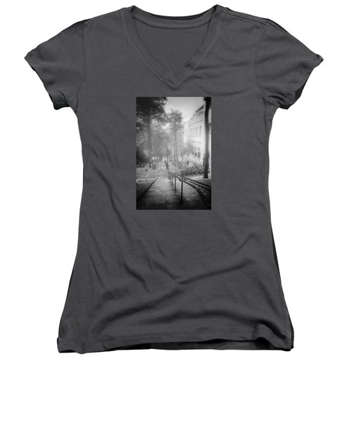 Fog In Montmartre Women's V-Neck T-Shirt (Junior Cut) by John Rivera