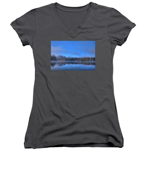 Women's V-Neck T-Shirt featuring the photograph Fog Lifting On West Lake by David Patterson