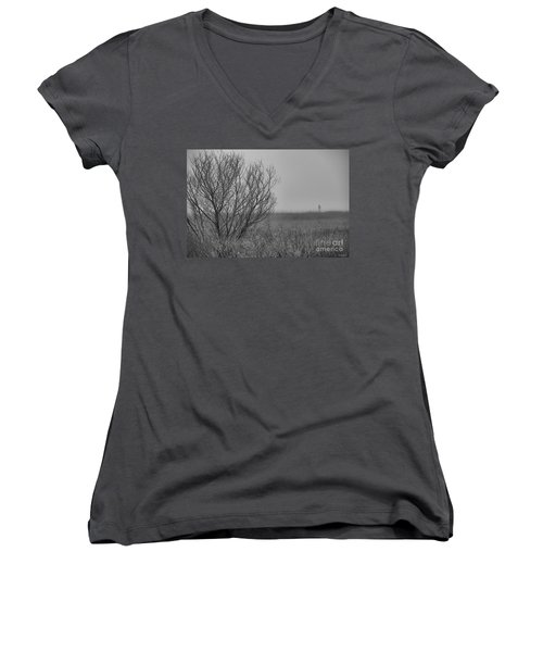 Women's V-Neck T-Shirt (Junior Cut) featuring the photograph The Fog Of History by Phil Mancuso