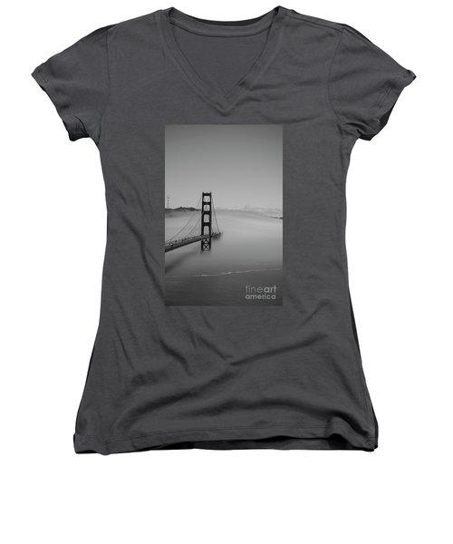 Women's V-Neck T-Shirt (Junior Cut) featuring the photograph Fogging The Bridge by David Bearden