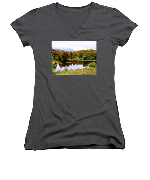 Foggy Day In Vermont Women's V-Neck T-Shirt