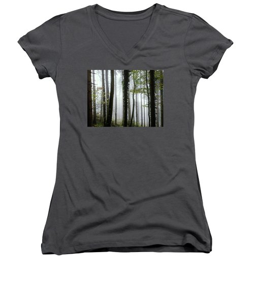 Women's V-Neck T-Shirt (Junior Cut) featuring the photograph Foggy Forest by Chevy Fleet