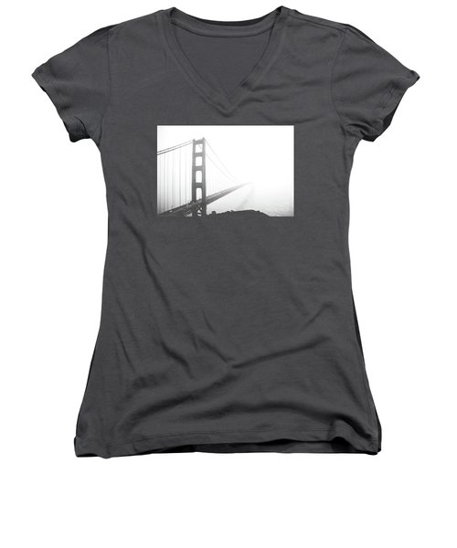 Women's V-Neck T-Shirt (Junior Cut) featuring the photograph Foggy Golden Gate Bridge  by MGL Meiklejohn Graphics Licensing
