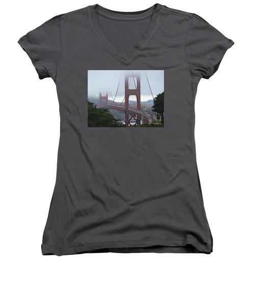 Foggy Golden Gate Women's V-Neck T-Shirt (Junior Cut) by Margaret Brooks