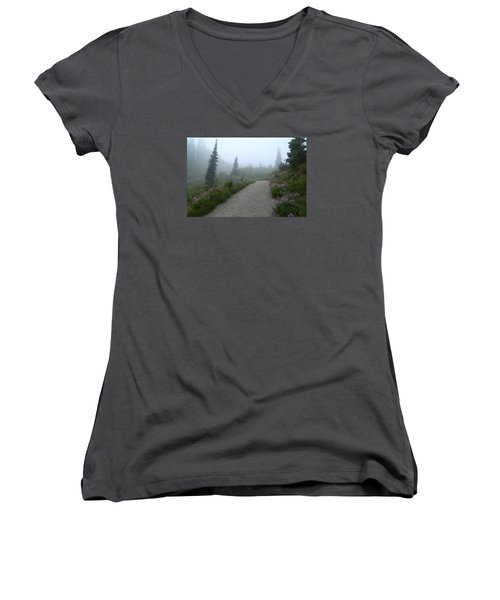 Women's V-Neck T-Shirt (Junior Cut) featuring the photograph Foggy In Paradise 2 by Lynn Hopwood
