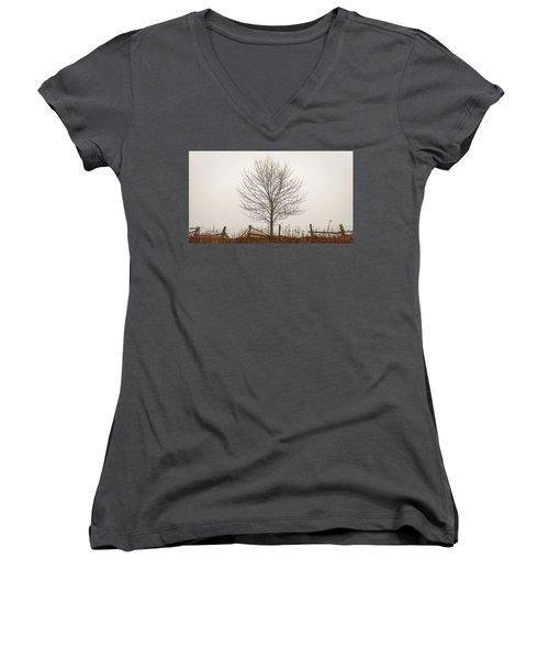 Foggy Lone Tree Hill Women's V-Neck