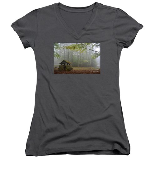 Foggy Morning At Droop Mountain Women's V-Neck