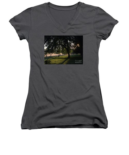 Women's V-Neck T-Shirt (Junior Cut) featuring the photograph Foggy Morning by Mark McReynolds