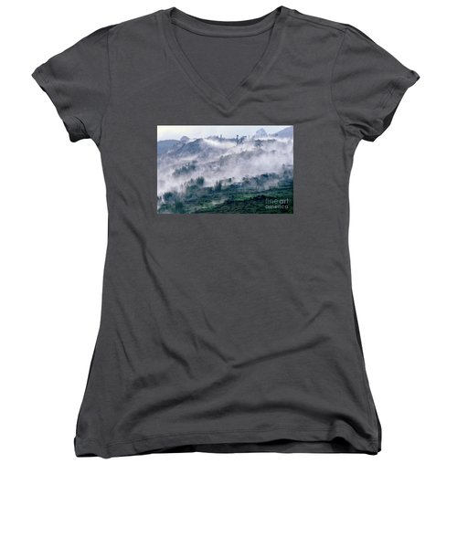Foggy Mountain Of Sa Pa In Vietnam Women's V-Neck